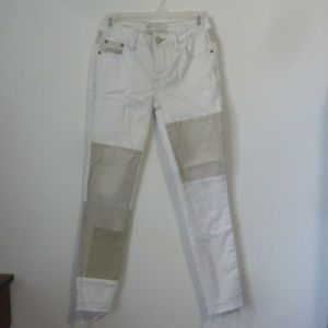 "Free People Skinny Jeans Frayed Hem Patch 8"" Rise"